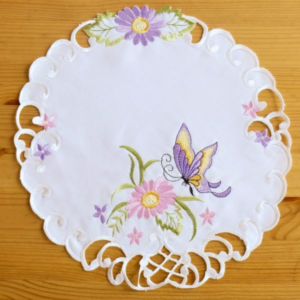Mitteldecke Tischwäsche Schmetterlinge Blumen Zierkante Stick bunt Ø 30 cm rund