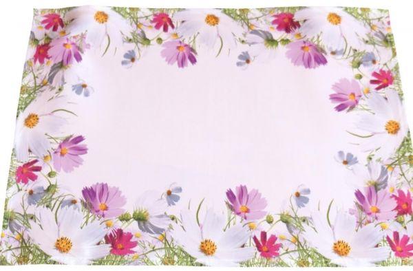 Tischset Tischwäsche Blumenwiese Blumen Frühling weiß Druck bunt 35x50 cm
