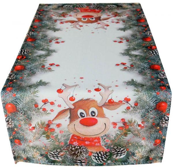 Tischläufer Mitteldecke Weihnachten witziger Elch weiß & Druck bunt 40x90 cm