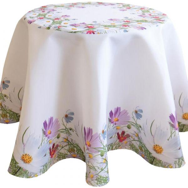 Tischdecke Tischtuch Blumenwiese Blumen Frühling weiß Druck bunt Ø 170 cm rund