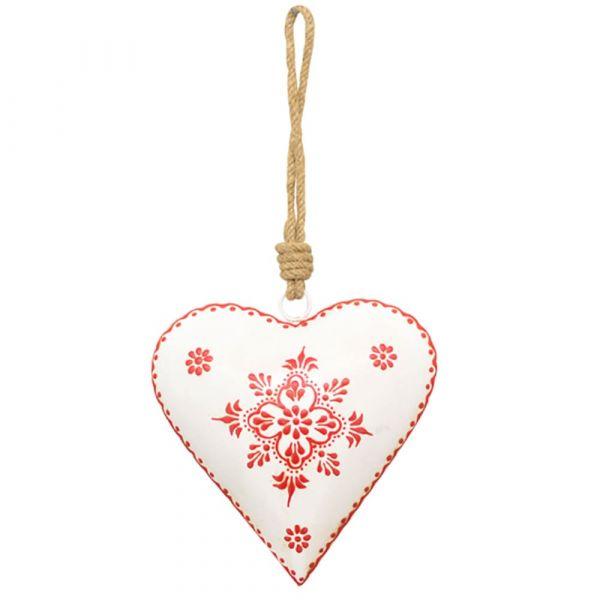 Herz Hänger Metall weiß Blumenmuster rot Kordel Landhaus Country 1 Stk Ø 15x5 cm