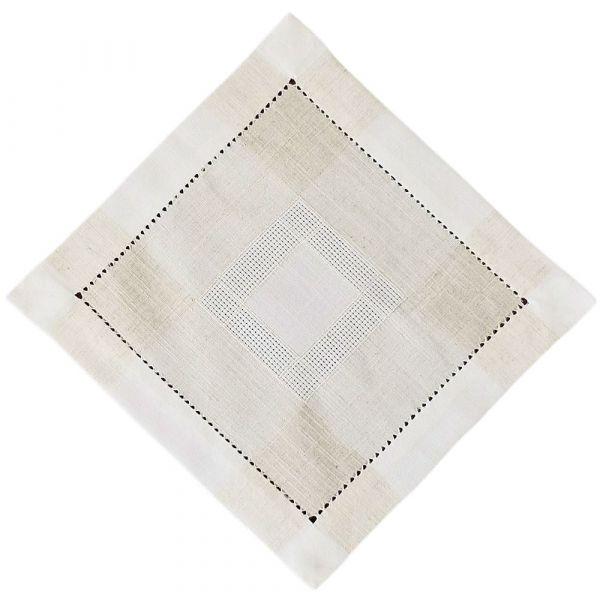 Mitteldecke Tischwäsche Leinenoptik & Hohlsaum Tischwäsche wollweiß ecru 35x35 cm