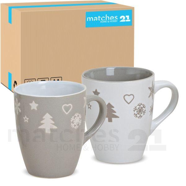 Tassen Becher Kaffeebecher 36 Stk. Karton Weihnachtsdekor grau / weiß 300 ml