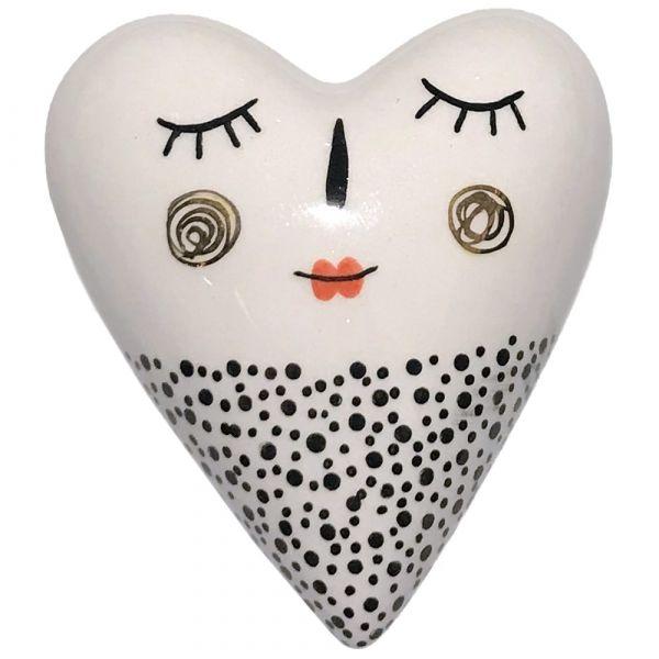 Herz Dekoherz Keramik Dekoration Gesicht Augen Nase Mund schwarz weiß gepunktet
