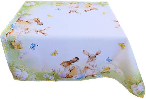 Tischdecke Mitteldecke Osterhasen Schmetterlinge Druck bunt Tischwäsche 85x85 cm