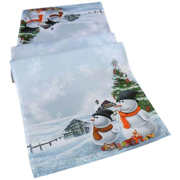 Tischläufer Mitteldecke Weihnachten Schneemänner Foto Druck weiß bunt 40x140 cm