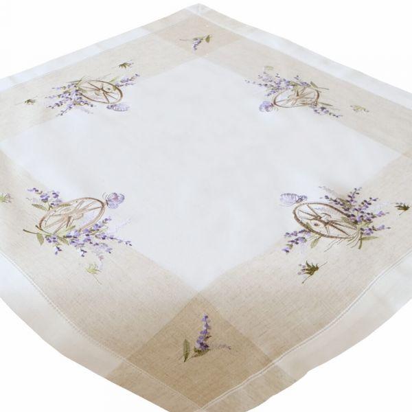 Tischdecke Tischwäsche Lavendel mediterran Leinenoptik beige / lila 85x85 cm
