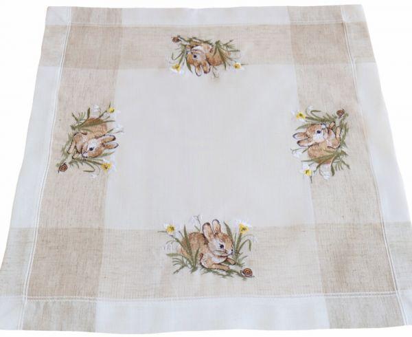 Tischdecke Tischwäsche Osterhasen Leinenoptik beige / weiß 60x60 cm