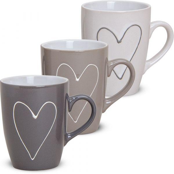 Tassen Becher Herzen Herzdekor grau beige weiß 3er Set Keramik 11 cm / 250 ml