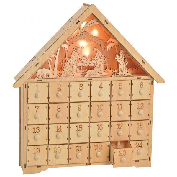 Adventskalender Holz Haus 3D Krippen Szene Figuren & LEDs Schubladen befüllbar