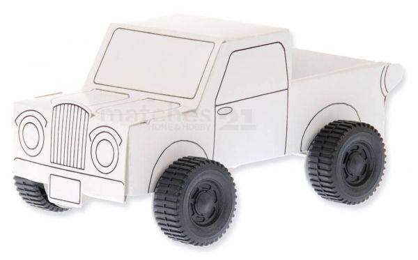 Geländewagen Jeep Pickup Karton Bastelsets 5er Set Bausatz Kinder - ab 7 Jahren