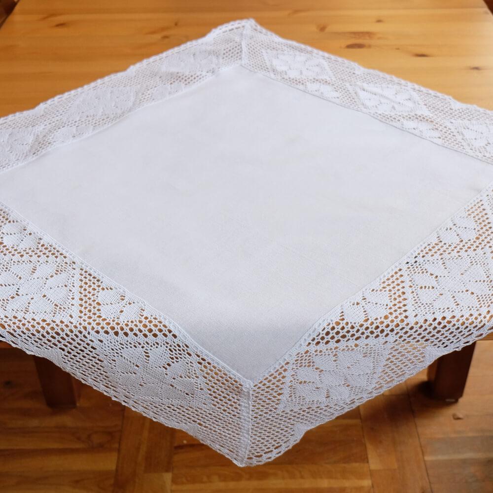 Tischläufer Tischwäsche weiß edle Häkelkante Häkelspitze Landhaus 35x70 cm