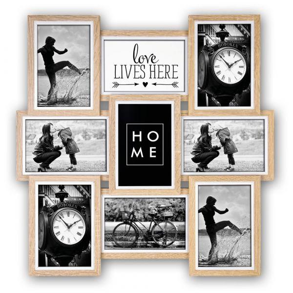 Collage 9 Fotos Galerierahmen Fotogalerie Rahmen Holz Erle natur versetzte Rahmen