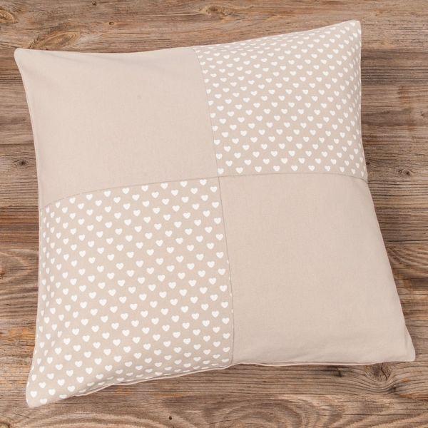 Kissenhülle Kissenbezug Landhaus Premium TRAUDL Patchwork beige weiß 40x40 cm