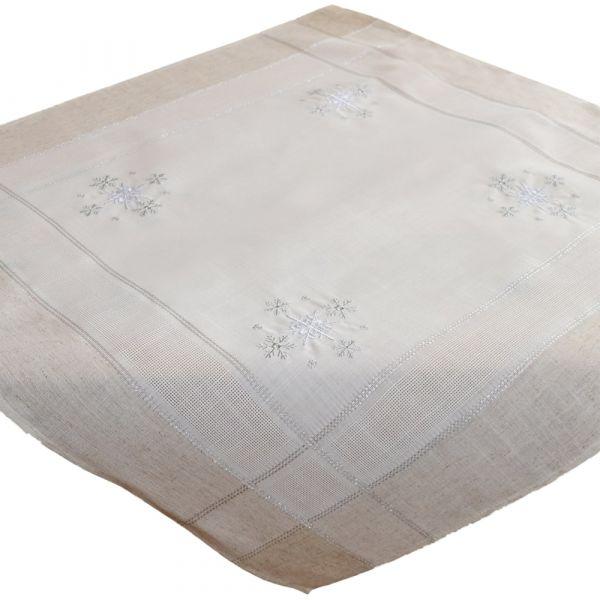 Tischdecke Mitteldecke Weihnachten Schneeflocken edle Stickerei 85x85 cm beige