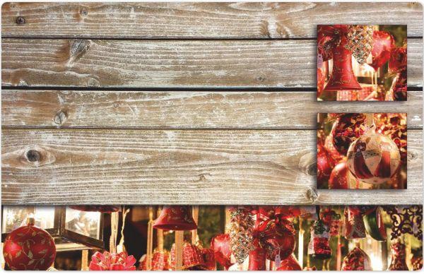 Tischset Platzset MOTIV Weihnachten Deko Kugeln rot & Holz 1 Stk. Abwaschbar