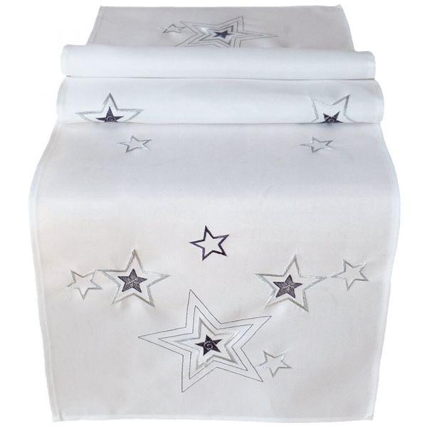Tischläufer Mitteldecke weiß Weihnachten Sterne Stick silber & grau 40x140 cm