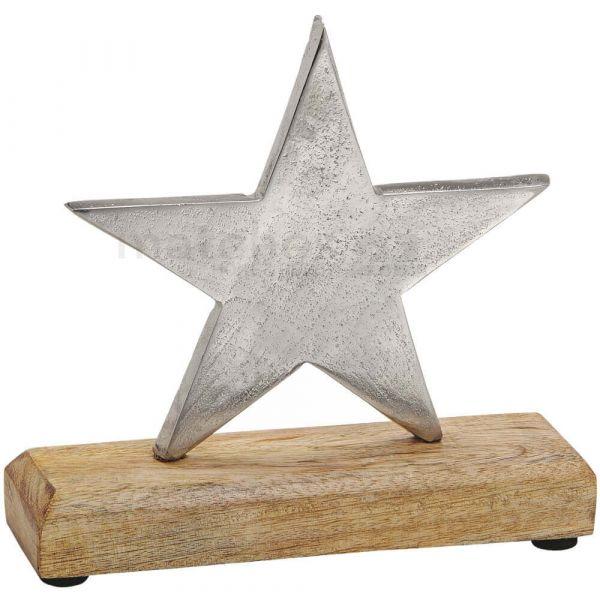 Stern Holz & Metall Dekofigur Skulptur Weihnachten silber / braun 1 Stk. 17 cm