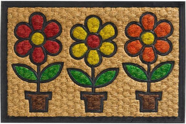 Fußmatte Fußabstreifer Kokos In- & Outdoor Gummi Blumentöpfe bunt - 40x60 cm