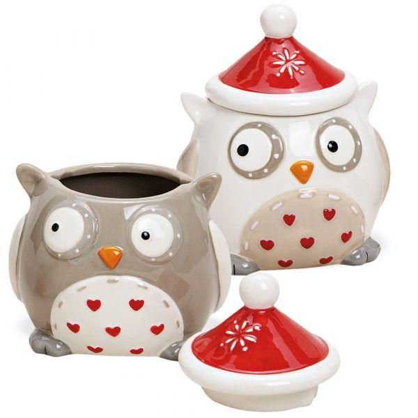 Keksdosen Eulen Mini Keramikdosen Plätzchendosen Keramik weiß & braun 2er 11 cm