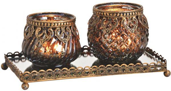Windlichter 2er Set auf Glastablett Orient Design gold 3-tlg Glas & Metallrand