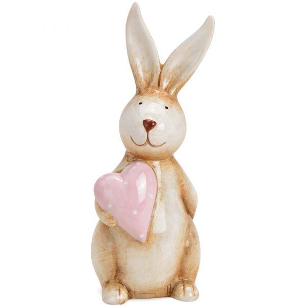 Osterhase Keramik Dekofigur Hase mit rosa Herz Ostern Osterdeko 1 Stk 7x6x17 cm