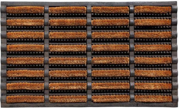 Bürstenmatte Fußabstreifer Gummi & harte Kokosbürsten schwarz / natur - 40x60 cm