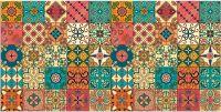 Teppichläufer Küchenläufer Teppich Marokko Retro Mosaik bunt waschbar - 60x120 cm 60x120 cm