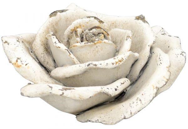 Rose Blüte Blume Dekofigur Gartendeko Antikoptik Zement creme 1 Stk Ø 15x6,5 cm