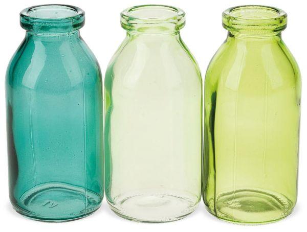 Glasflaschen Glasvasen Flaschen Vasen Dekoflaschen Farbmix 3er Set Ø 5 cm grün