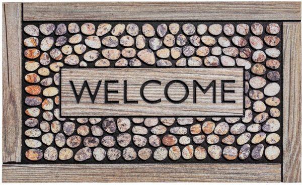 Fußmatte Gummimatte wetterfest OUTDOOR DECOR Welcome Holz & bunte Steine 45x75 cm