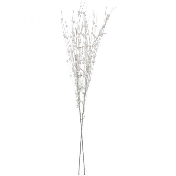 Deko Zweige weiße Perlen glitzernd 2er Set je 75x18 cm beleuchtet 10 LEDs