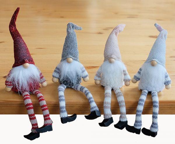 Kantenhocker Wichtel mit Bart & Mütze Weihnachten Deko Figuren 4er Set sort 25cm