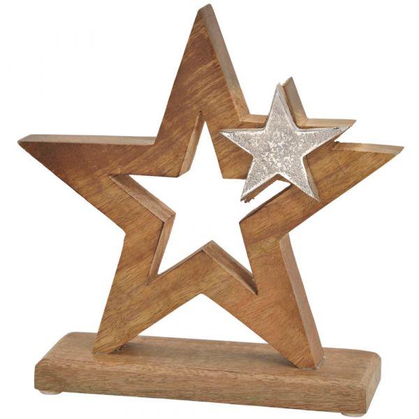Dekofigur Sterne Weihnachten Deko Holz & Metall Holzfigur Holzstern 1 Stk 21 cm