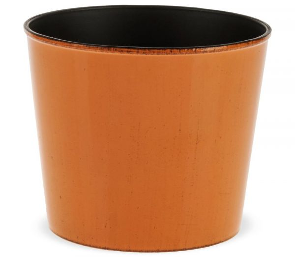 Übertöpfe Pflanztöpfe Blumentöpfe Kunststoff orange glänzend einfarbig - 2 Größen
