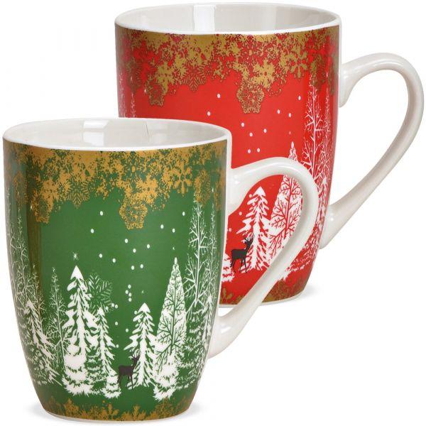 Tasse Kaffeebecher Tannenbäume Wald rot grün Porzellan 1 Stk **B-WARE** 10 cm
