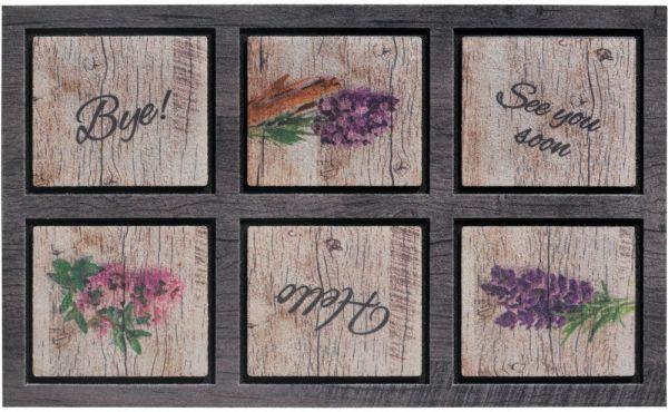 Fußmatte Gummimatte wetterfest OUTDOOR DECOR Holz Lavendel & Schriften 45x75 cm