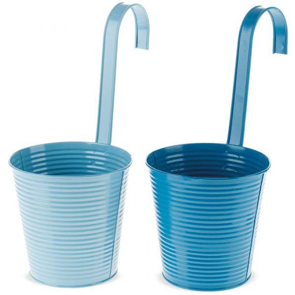 Hänge Blumentöpfe Metall mit Haken Balkon & Terrasse hellblau / blau 2er Ø 13 cm