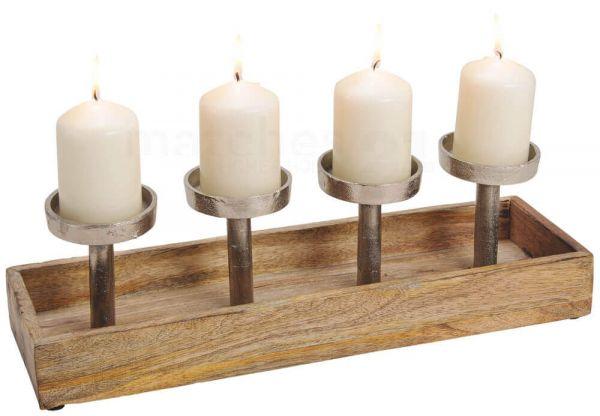 Adventsgesteck 4 Kerzenhalter Metall & Holz Schale Weihnachten silber/braun 41 cm