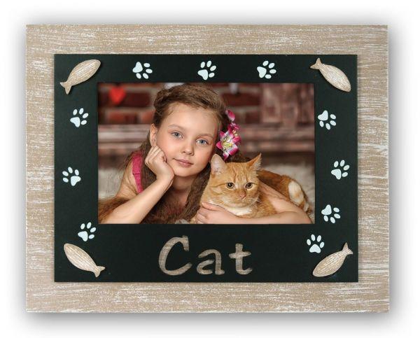 Bilderrahmen Foto Rahmen Holz natur & schwarz Katze Cat Pfotenabdrücke & Fische