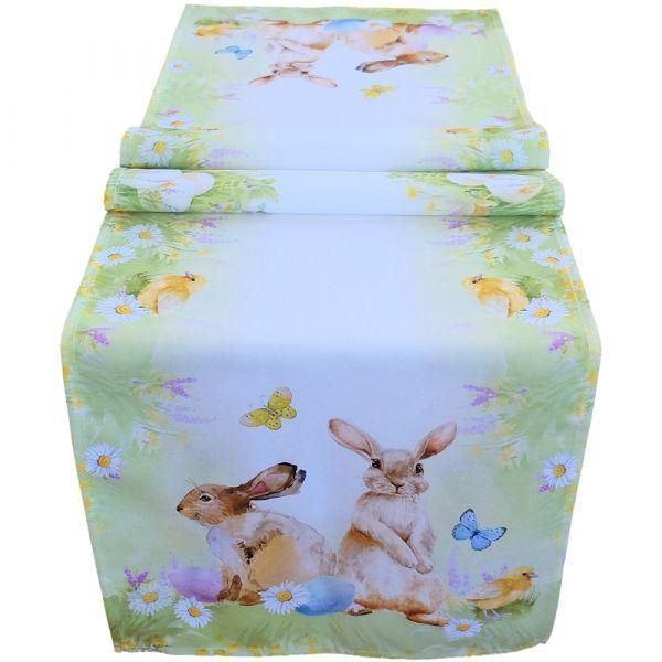 Tischläufer Mitteldecke Osterhasen Schmetterlinge Druck bunt Tischwäsche 40x140cm