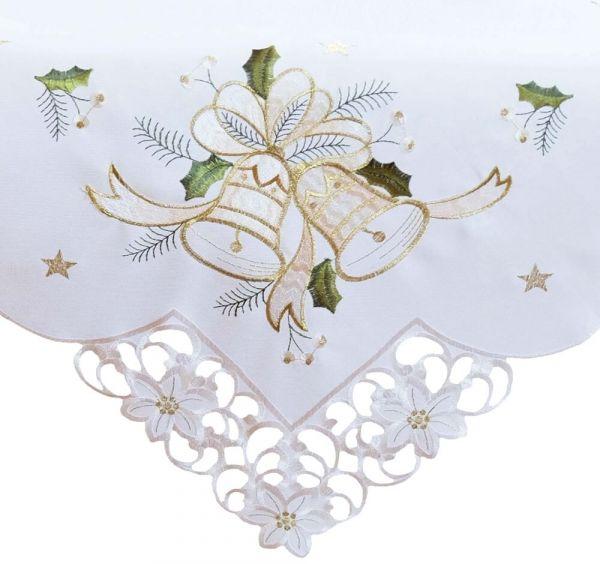 Tischdecke Mitteldecke Weihnachten Stick Glocken beige Zierkante Blüten 85x85 cm