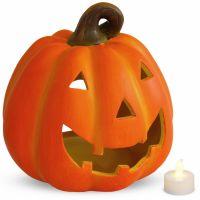 Halloween Kürbis Windlicht 19x20 cm Ton mit LED-Licht Herbstdeko