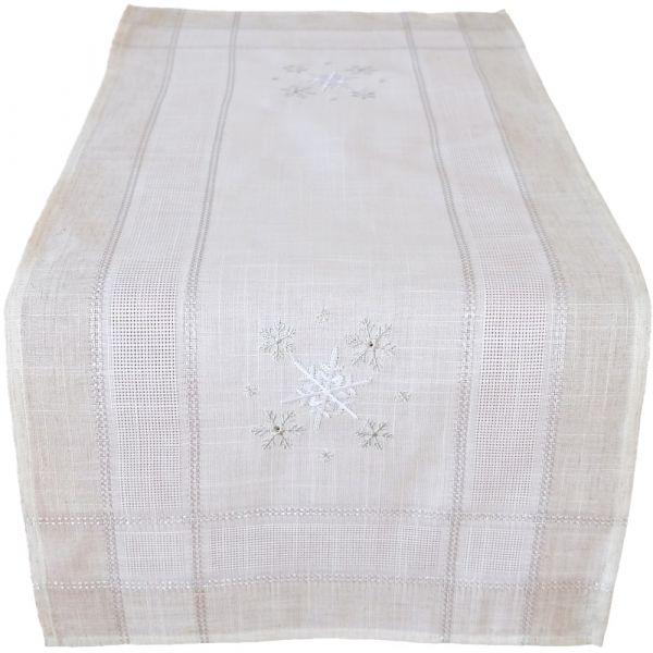 Tischläufer Mitteldecke Weihnachten Schneeflocken edle Stickerei 40x90 cm beige