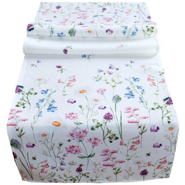 Tischläufer Tischwäsche Mitteldecke Wiesenblumen Blumen Blüten bunt 40x140 cm