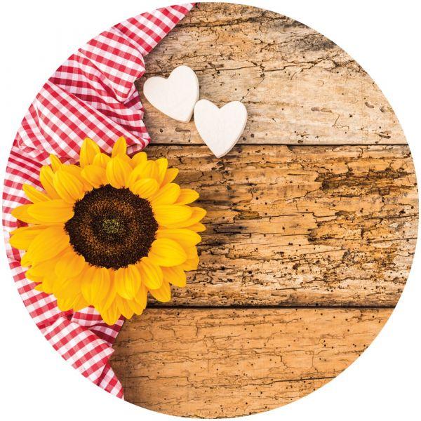 Tischset Platzset MOTIV Landhaus-Stil Sonnenblume & Holz 1 Stk rund abwaschbar