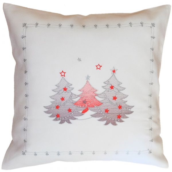 Kissenbezug Kissenhülle Weihnachten Stick Tannenbäume rot silber 40x40 cm weiß