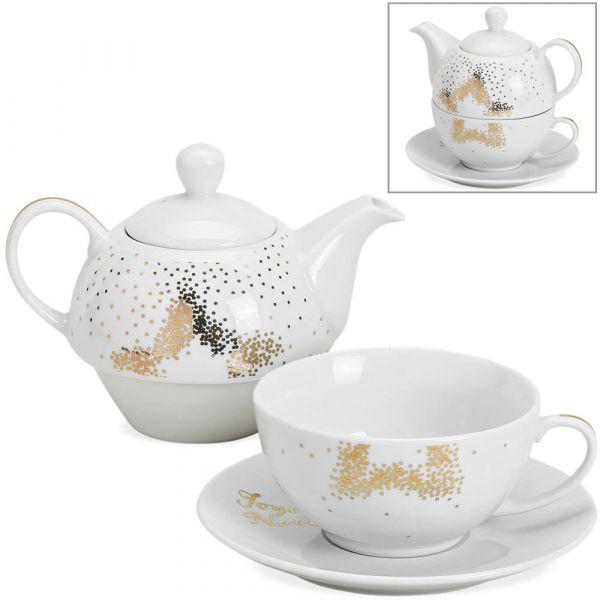Tea For One Geschenk Set Porzellan Weihnachten Stern gold Teekanne Tasse Teller