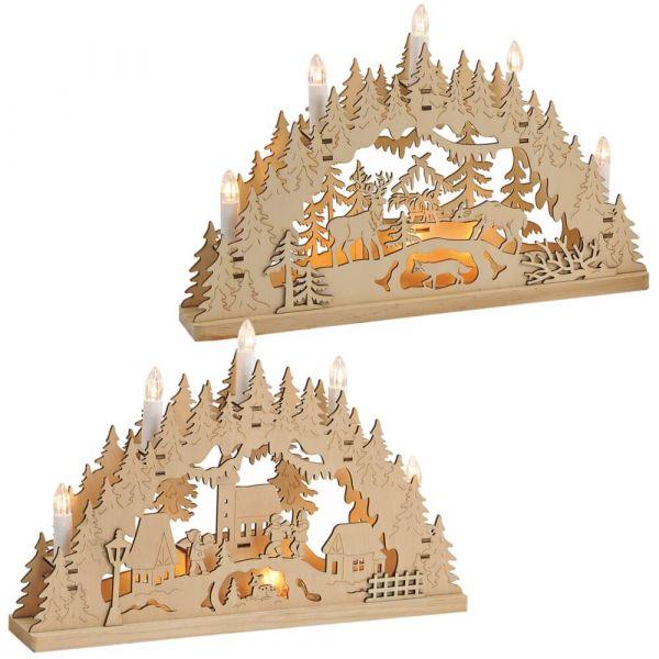 Schwibbögen 3D Lichterbögen - Wald ODER Dorf LED Weihnachtsdeko 1 Stk 35 cm