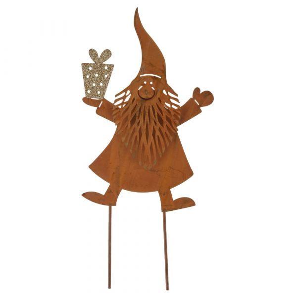 Pflanzenstecker Weihnachtsmann & Geschenk Metall Rostoptik gold 1 Stk 17x36 cm